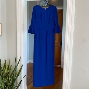 Betsy & Adam Royal Blue Gown with Bell Sleeves